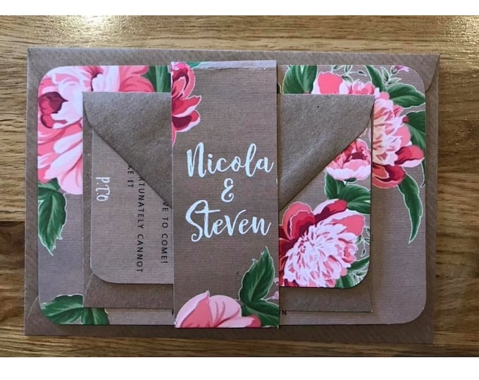 Wedding Invitations Vintage Kraft Card with Pink Peony's- Fully Customised
