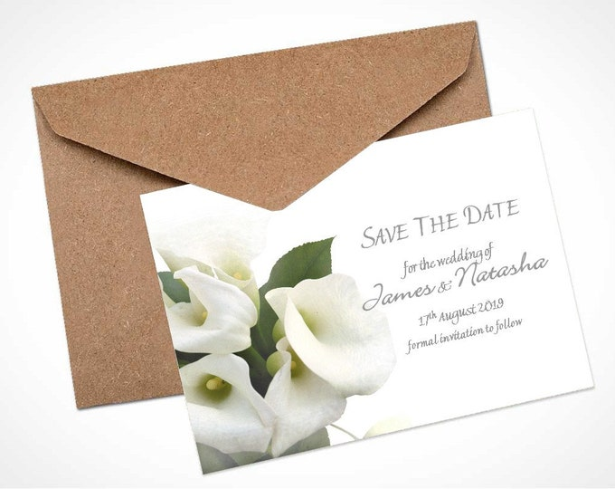 White Calla Lily Bouquet Wedding Save The Date Card / Magnet