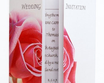 Pink Rose Wedding Invitation On Gatefold Card
