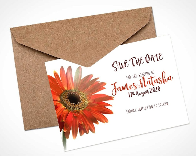 Orange Gerbera Wedding Save The Date Card / Magnet