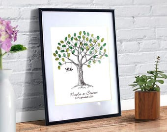 Wedding Fingerprint Tree Personalised With Love Birds