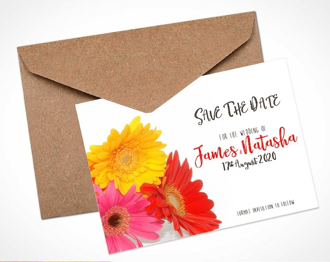 Mixed Gerbera Wedding Save The Date Card / Magnet