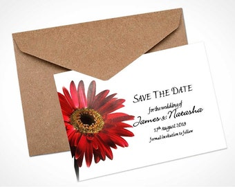 Red Gerbera Wedding Save The Date Card / Magnet