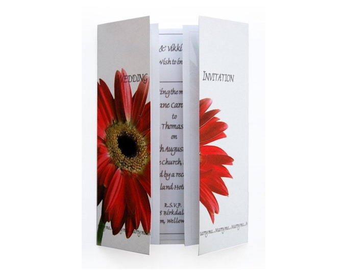 Red Gerbera Wedding Invitation On Gatefold Card