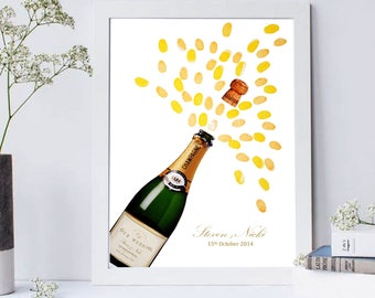 Wedding Champagne Bottle Fingerprint Guest Book/ Keepsake- Celebration/ Birthday/ Anniversary