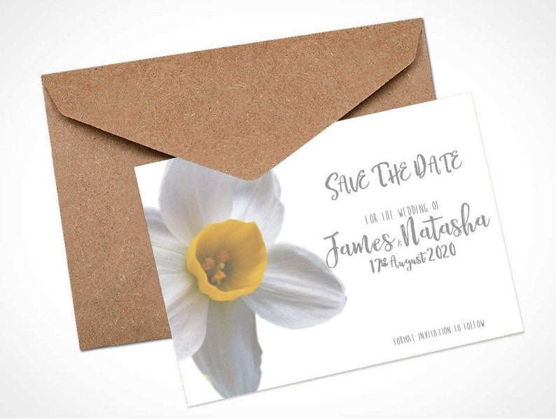 White Daffodil Wedding Save The Date Card  Magnet