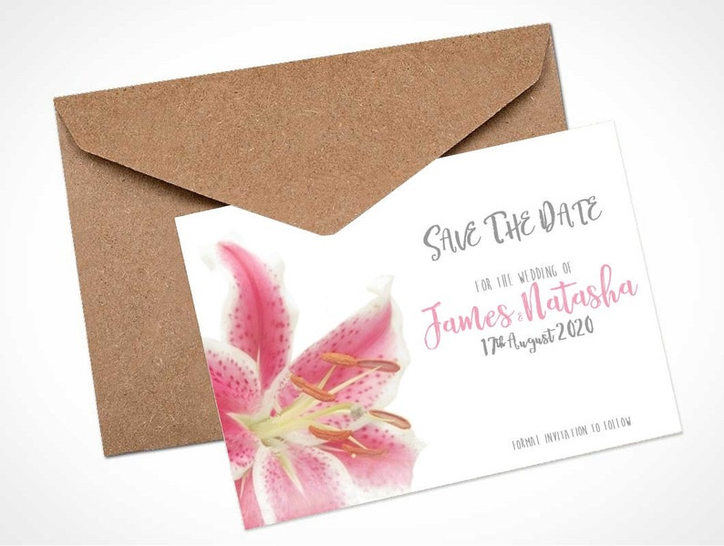 Pink Stargazer Lily Wedding Save The Date Card  Magnet