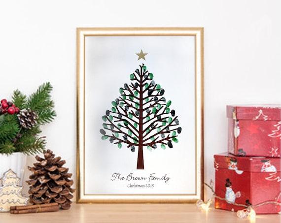 Personalisierte Weihnachten Fingerabdruck Thumprint Baum Etsy