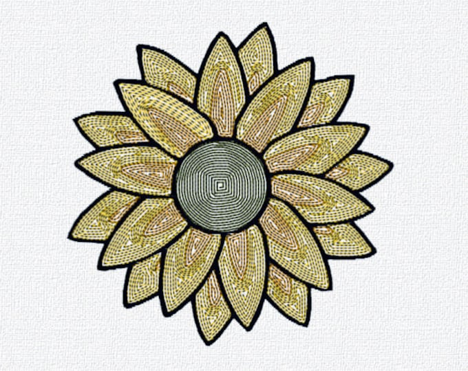 Sunflower Embroidery design for machine embroidery. Available in PES, JEF, DST and more formats.