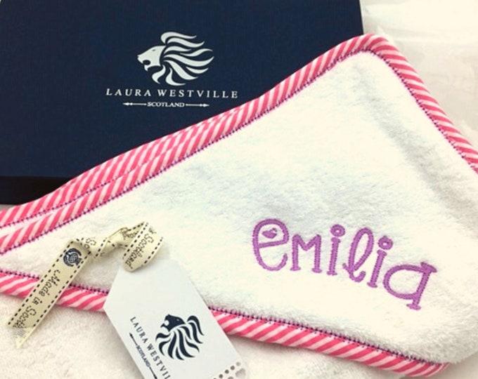 Gift Boxed - Personalised Bespoke Baby Hooded Towel