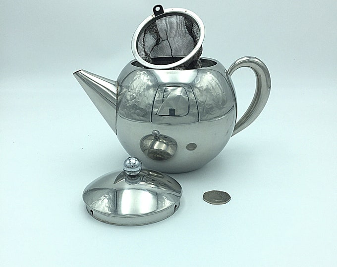 Vintage Stainless Steel Tea Pot with Removable Infuser Basket