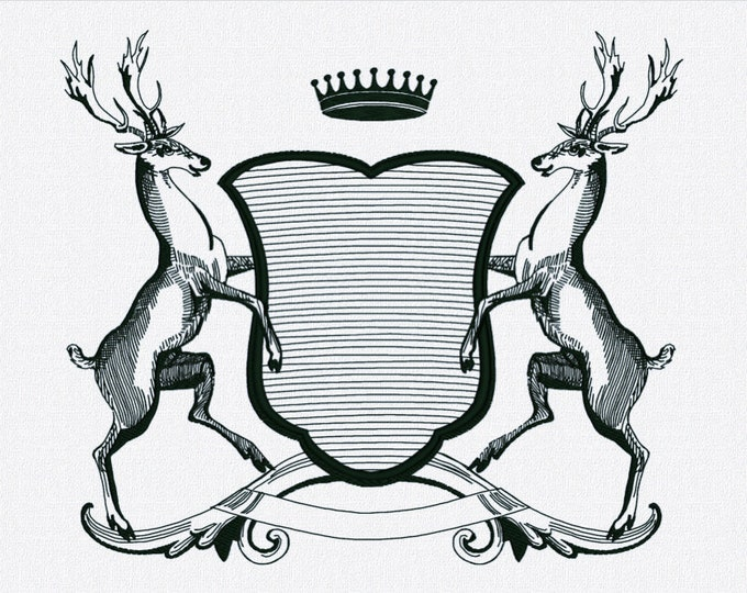 Monogram Crest with Stags - Embroidery file