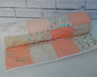 Baby Blanket, Baby Quilt, Patchwork Quilt, Blanket, Baby Girl, Baby Shower Gift, Baby Gift, Peach,