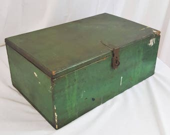 Antique 1930s Toolbox in Old Green Paint