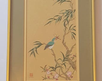 REDUCED! Vintage Original Signed P. Chan Watercolor on Silk Painting of Bird Eating