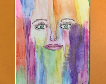 Lost in the Rainbow, 11 x 17, Signed Original, Watercolor and Pen on Watercolor Paper