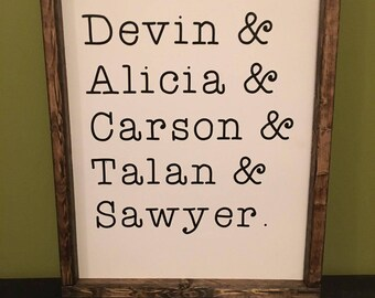 Family Names Sign