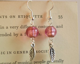 Pink Leaf Drop Earrings