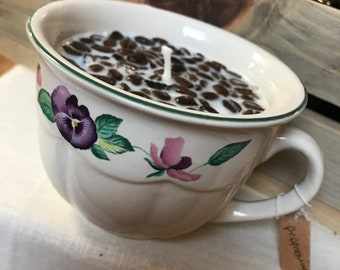 Pansey Coffee Cup Soy Candle (Pepermint Mocha)