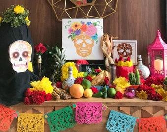Day of the Dead Decorations, Papel Picado, Fiesta Decorations, Mexican Dia de los Muertos Banner, Sugar Skull Decorations, Disney Coco