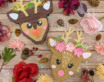 Reindeer Piñata Gift Box, Rudolph Gift Box, Christmas Decoration, Holiday Gift Ideas, Gift Card Holder, Holiday Decorations, Deer Pinatas