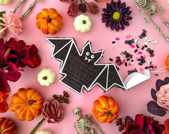 Halloween Mini Bat Piñata (1), Mini Piñata, Halloween Decorations, Boo Basket, Boo Bag, Halloween Party Favor, Halloween Gift Box, 1 PINATA