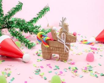 Mini Reindeer Piñata Ornament, Reindeer Tree Decoration, Reindeer Gift Tag, Mini Reindeer, Reindeer Gift Box, Reindeer Gift Tag, 1 ORNAMENT