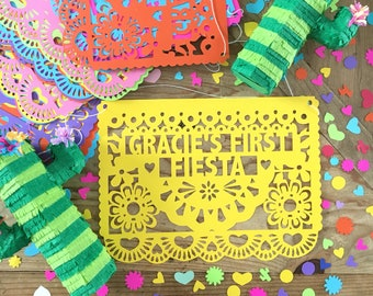 Fiesta Birthday Banner (1), Customized Papel Picado Banner, First Fiesta, Cinco de Mayo Decoration, Mexican Wedding, Engagement Party Banner