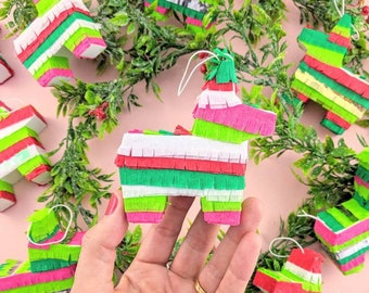 3 Mini Pinata Ornaments, Mini Piñata, Mexican Christmas Ornament, Tree Ornament, Christmas Decoration, Hostess Gift, Gift Exchange, set of 3