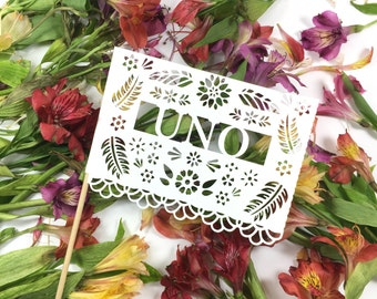 Mexican Wedding Table Numbers, Papel Picado, Fiesta Wedding, Wedding Decorations, Mexican, Engagement Party , Decorations, Set of 12