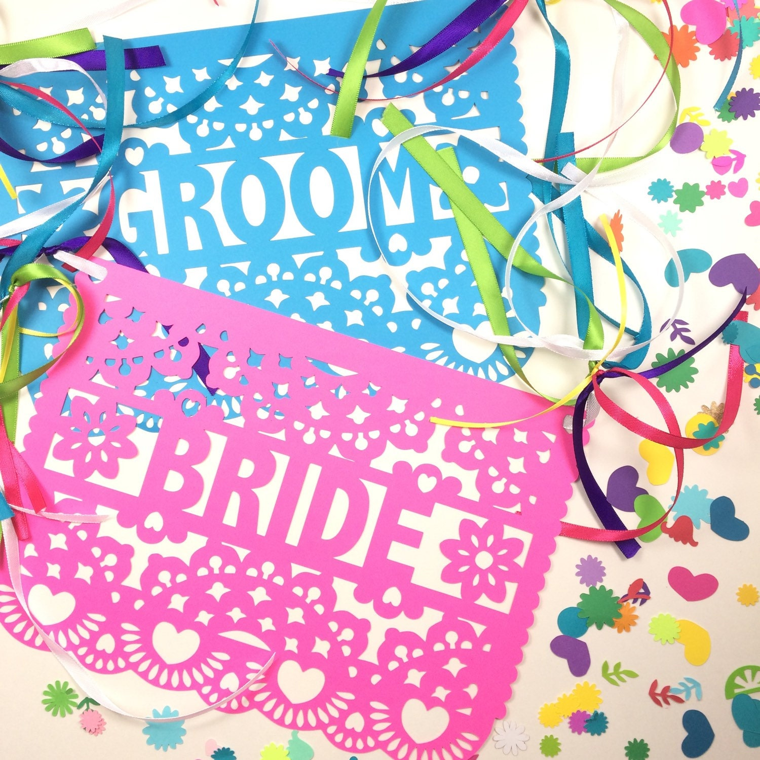 Mexican Wedding Banner Sweetheart Table Bride and Groom