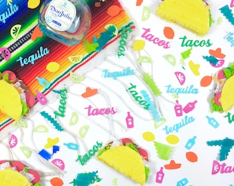 Tacos and Tequila Confetti, Cinco de Mayo, Mexican Fiesta, Bachelorette, Piñata filling, Taco Party, 1 CUP OF CONFETTI