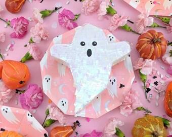 Mini Ghost Piñata (1), Iridescent Halloween Decorations, Halloween Party Favor, Halloween Treat Box, Ghost Decoration, Boo Basket, Boo Bag