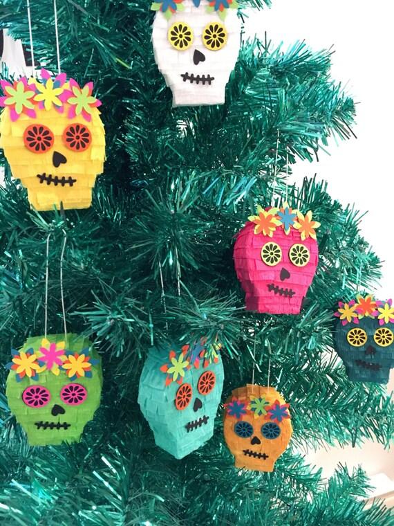 Mexican Christmas Ornaments Mini Pinata Sugar Skull Tree | Etsy