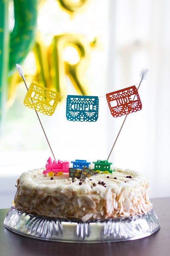 Papel Picado Cake Topper Mexican Wedding Cake Fiesta Etsy