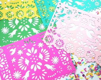 Mexican Fiesta Papel Picado Banners, Otomi, Mexican Weddings, Disney Coco, Birthdays and Parties, Paper Cut Decorations, Fiesta, 1 BANNER
