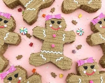 Mini Christmas Pinata, Gingerbread Piñatas, Holiday Decorations, Party Favors, Gift Box, Christmas Cracker, Holiday Party, ONE PIÑATA