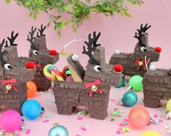 Mini Reindeer Pinatas (3), Christmas Piñata, Party Favor, Gift Box, Mini Piñata, Stocking Stuffer, Rudolph, Christmas Decoration, Brown