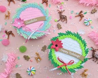 Wreath Ornament (1), Mini Piñata Christmas Ornament, Holiday Decoration, Personalized Christmas Gift, Wreath Decoration, Christmas Gift Box