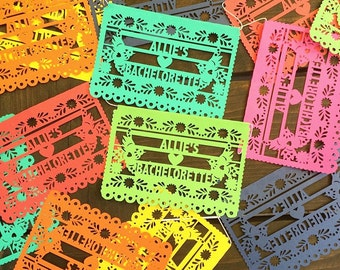 Mini Papel Picado Banners, Mexican Fiesta Decorations, Personalized for Weddings, Engagement Parties, Bachelorettes, Cinco de Mayo