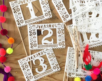 Fiesta Wedding, Papel Picado Table Numbers, Otomi Wedding Decorations, Fiesta Party Decor, Floral Fiesta Theme Party, SET OF 12