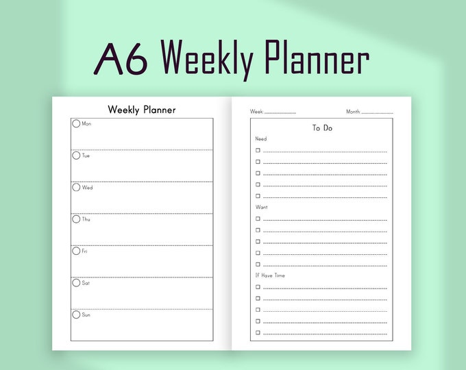Weekly Planner Pages, A6 Planner Inserts, A6 TN Inserts, Wo2P Inserts