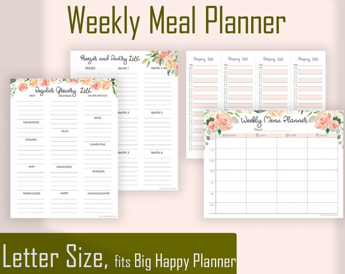 Weekly Meal Planner and Grocery list, Menu Planner, Shopping List, Big Happy Planner Inserts,
