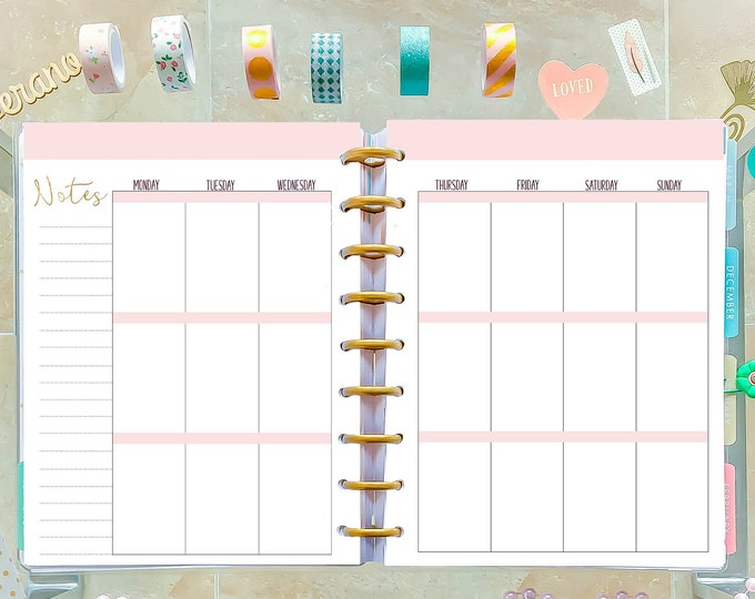 Weekly Planner Pages made to fit Classic Happy Planner Inserts Printable, Weekly Agenda