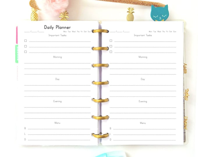 Daily Planner Pages Made to fit Mini Happy Planner Inserts Printable To Do List