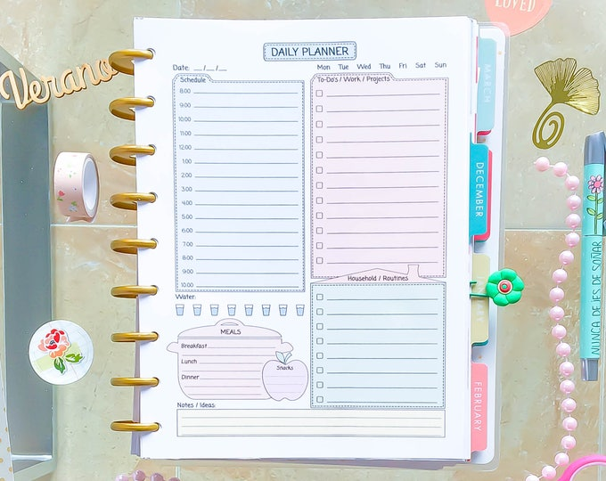 Daily Planner Pages, Happy Planner insert Do1p