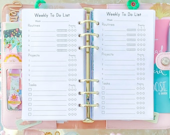 WEEKLY TO DO List Personal Size Inserts 3.7 x 6.7 Printable Filofax Refills Weekly Routines Tasks Projects pdf Instant Download.