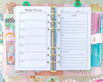 WEEKLY PLANNER Personal Size Inserts 3.7 x 6.7 Week At A Glance Week on two Pages Printable To Do List Schedule Filofax Medium Refills.