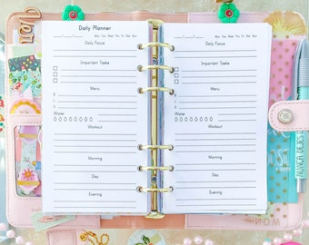 DAILY HEALTH Planner Printable Filofax Personal Inserts PDF Workout Exercise Planner Day on One Page Refill 3.7 x 6.7 Instant Download.