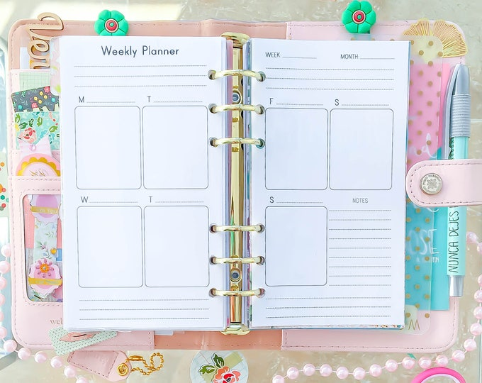 Weekly Planner Personal Size Inserts with Erin Condren Full Box Vertical Layout Personal TN Filofax Personal Planner Pages Instant Download